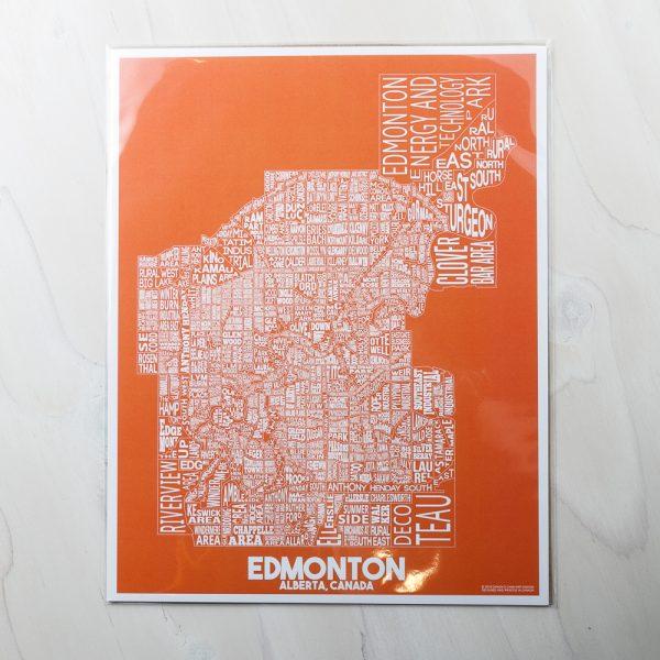 edmonton map orange print