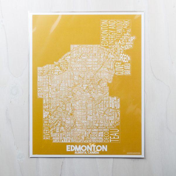 edmonton map yellow print