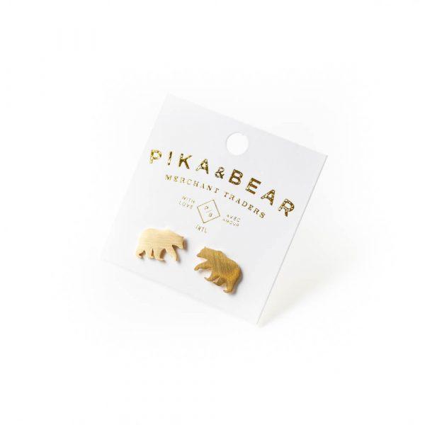 bear gold studs