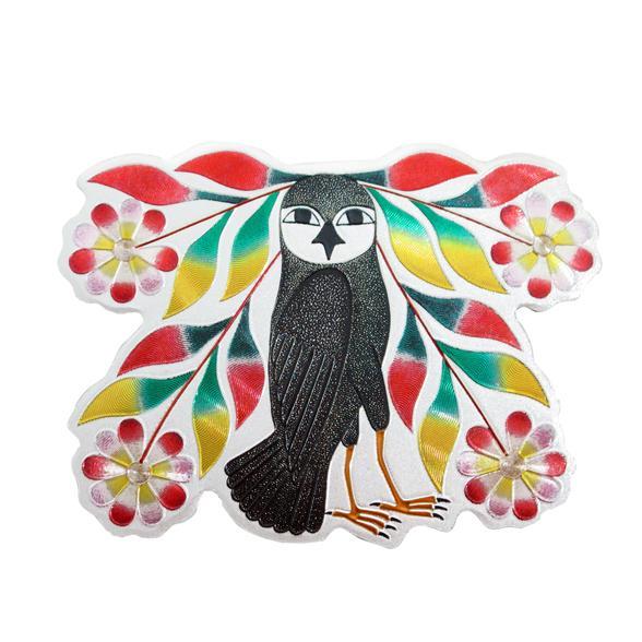 owl bouquet metallic magnet