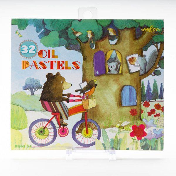 Bear on Bike Oil Pastels