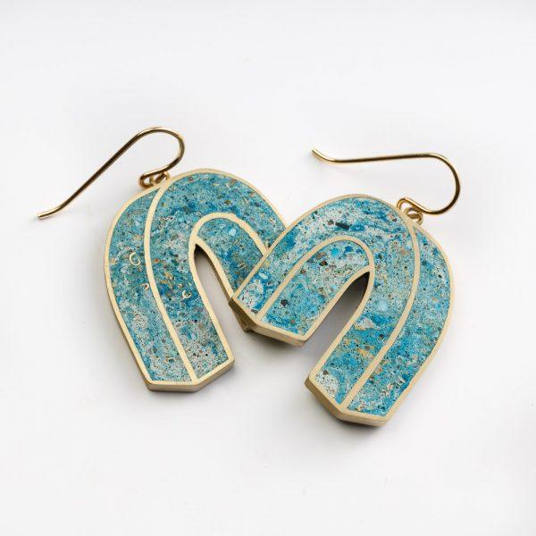 Cement Ceramic Statement Earrings Coloured Cement Earrings Stainless Steel Hoop Earring Blue Bend Shape Cement Earrings