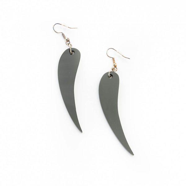 black mini bison horn earrings