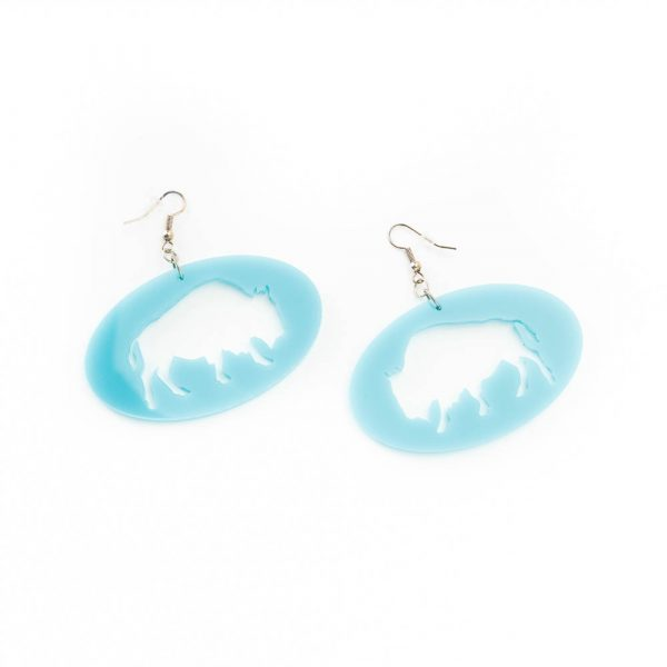 blue bison coin earrings