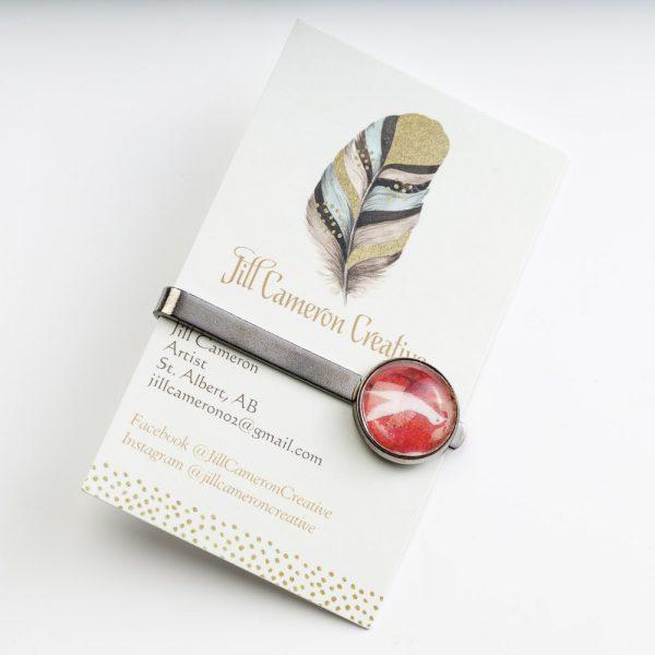 jc red bird tie clip