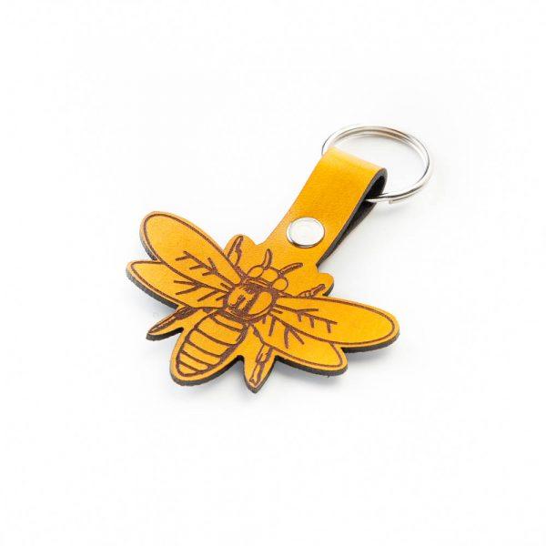 leather bee keychain