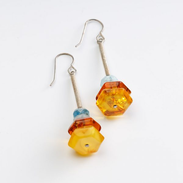 neshka aquamarine and amber earings