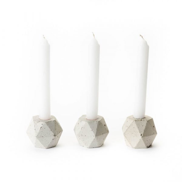 set of three concrete candle holders