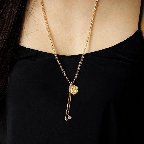 shakti pink beads gold charm