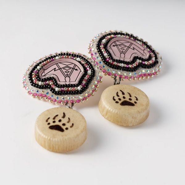 sister bear pink drum earrings