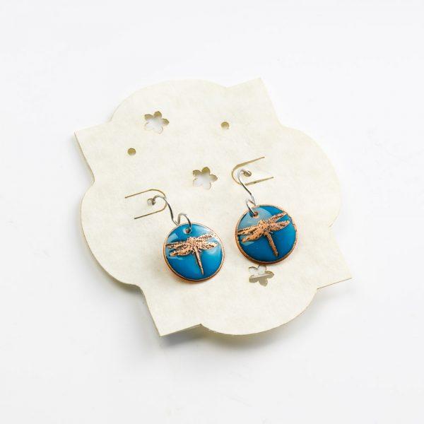 skrocki blue dragonfly earrings
