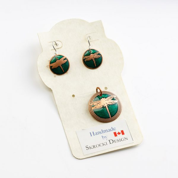 skrocki dragonfly earrings and pendant