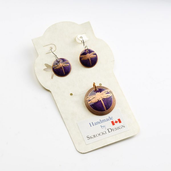 skrocki dragonfly purple pendant and earrings