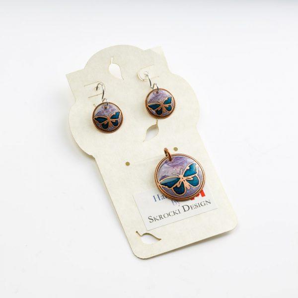 skrocki purple and blue earrings and pendant