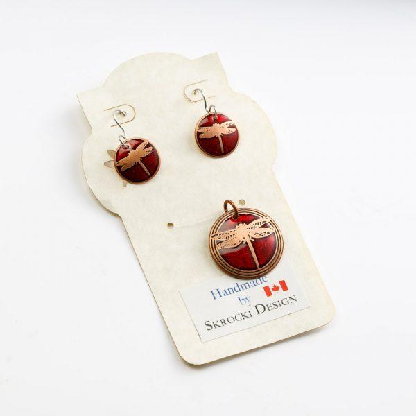 skrocki red dragonfly pendant and earrings