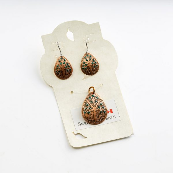 skrocki teardrop tree of life earrings and pendant