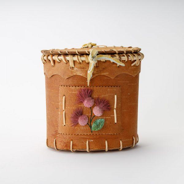 Birch Basket Pink Flowers