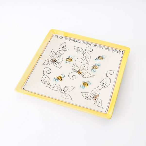 artables large square honey bee plate