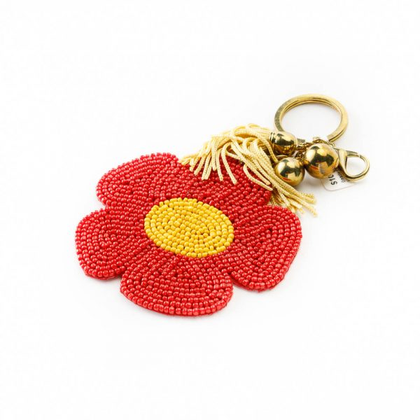 beaded flower keychain