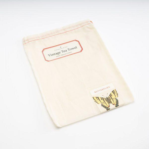 cavallini butterflies tea towel bag