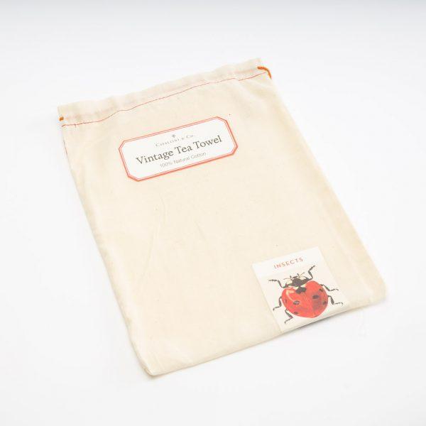 cavallini insects tea towel bag