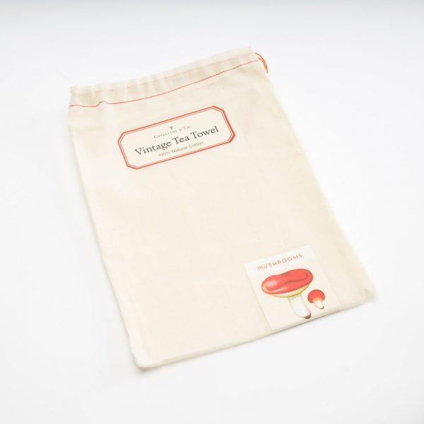 cavallini mushrooms tea towel bag