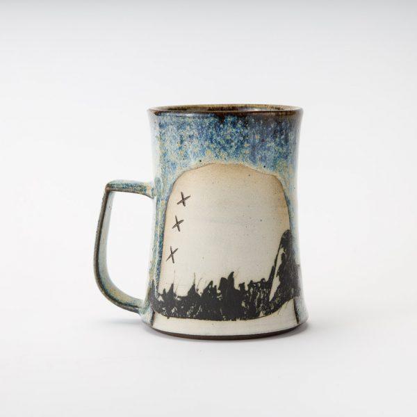 high country art blue coyote jawbone mug