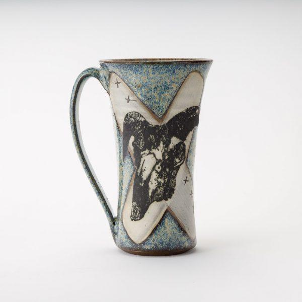 high country art goat skull mug