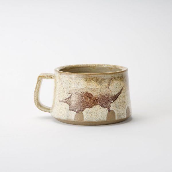 high country art short bison skull mug