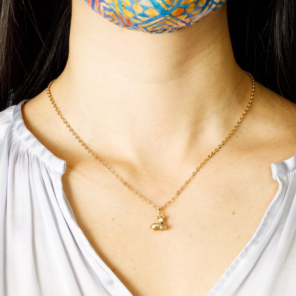 pika and bear gold fawn necklace