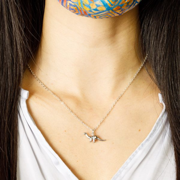 pika and bear silver apatosaurus necklace
