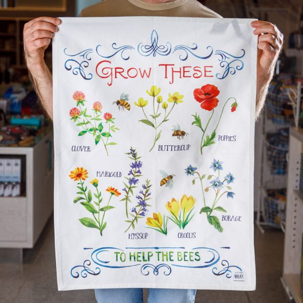 grow these for the bees tea towel