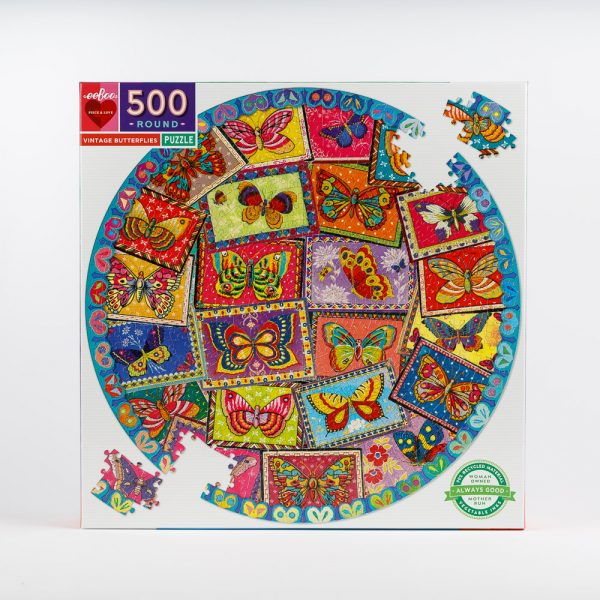 vintage butterflies round puzzle