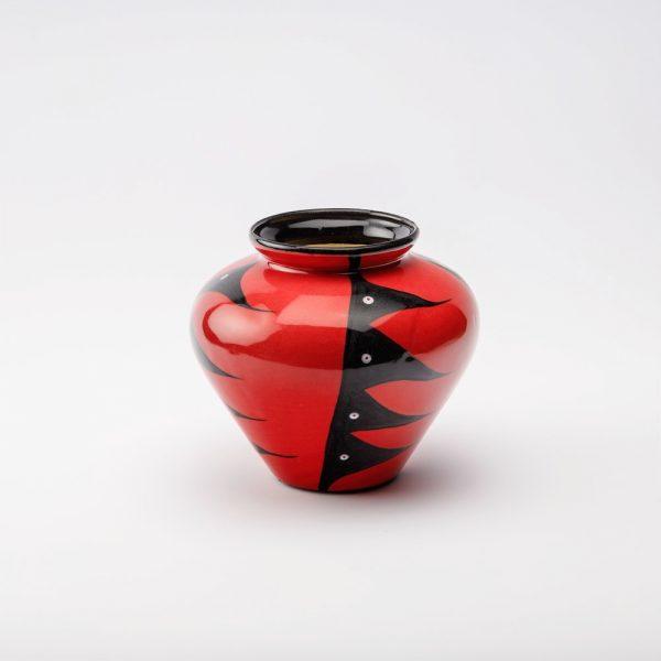 large harvest vase red