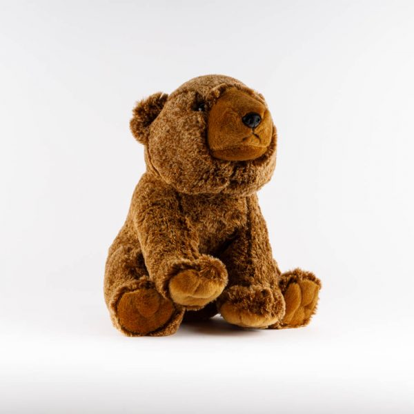 large sitting brown bear plush