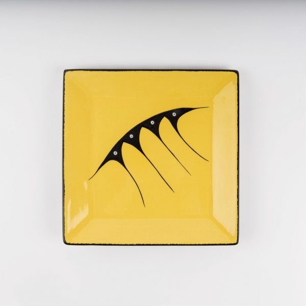 large square plate yellow
