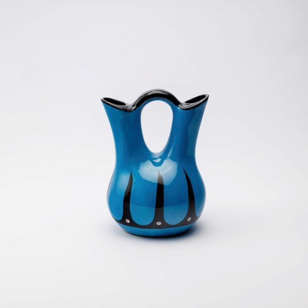 low hoop wedding vase blue