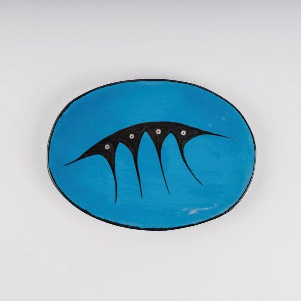 medium oval plate blue