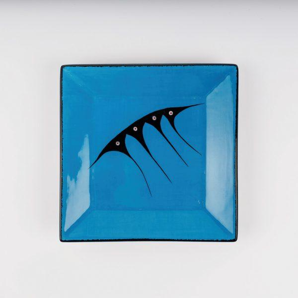 medium square plate blue