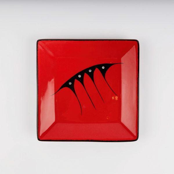 medium square plate red