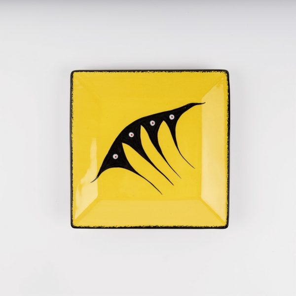 medium square plate yellow