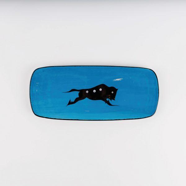 small buffalo platter blue