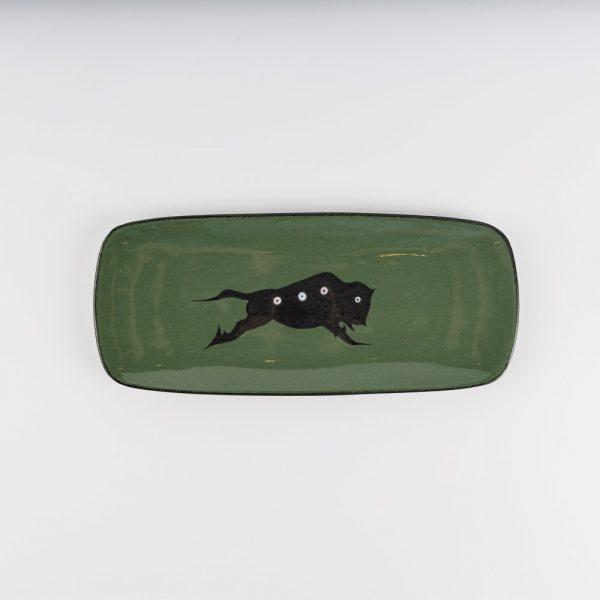 small buffalo platter green