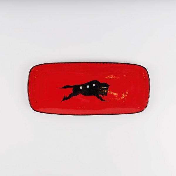 small buffalo platter red