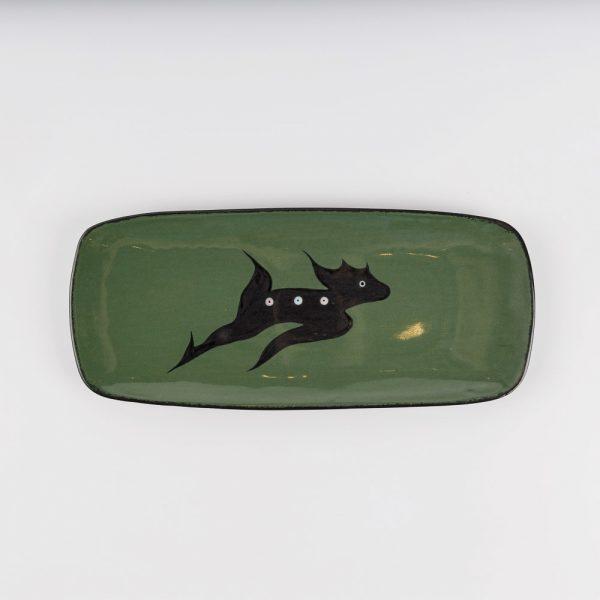 small deer platter green