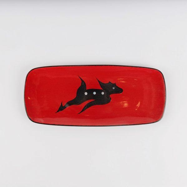 small deer platter red