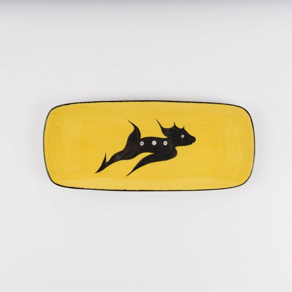 small deer platter yellow