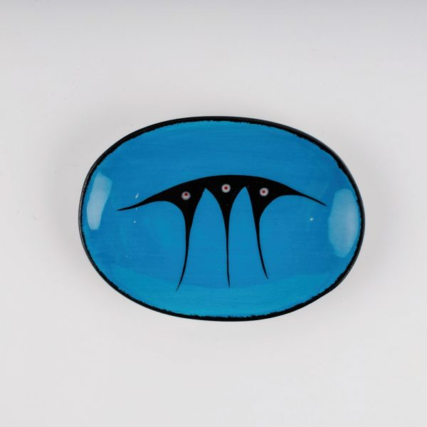 small oval plate blue