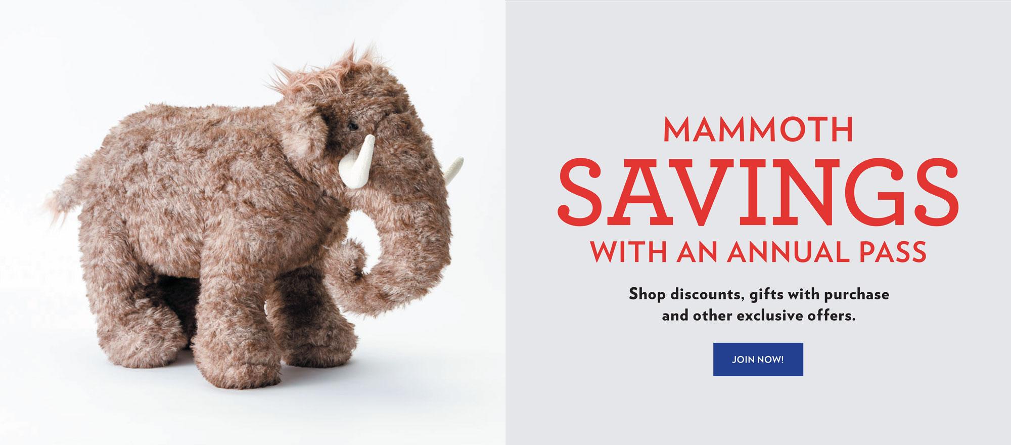 photo of a mammoth stuffy; mammoth pass membership offer