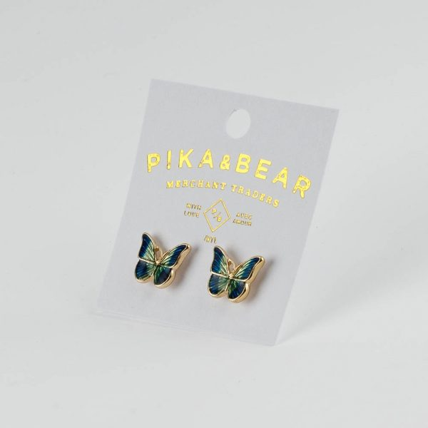 pb colourful butterfly studs